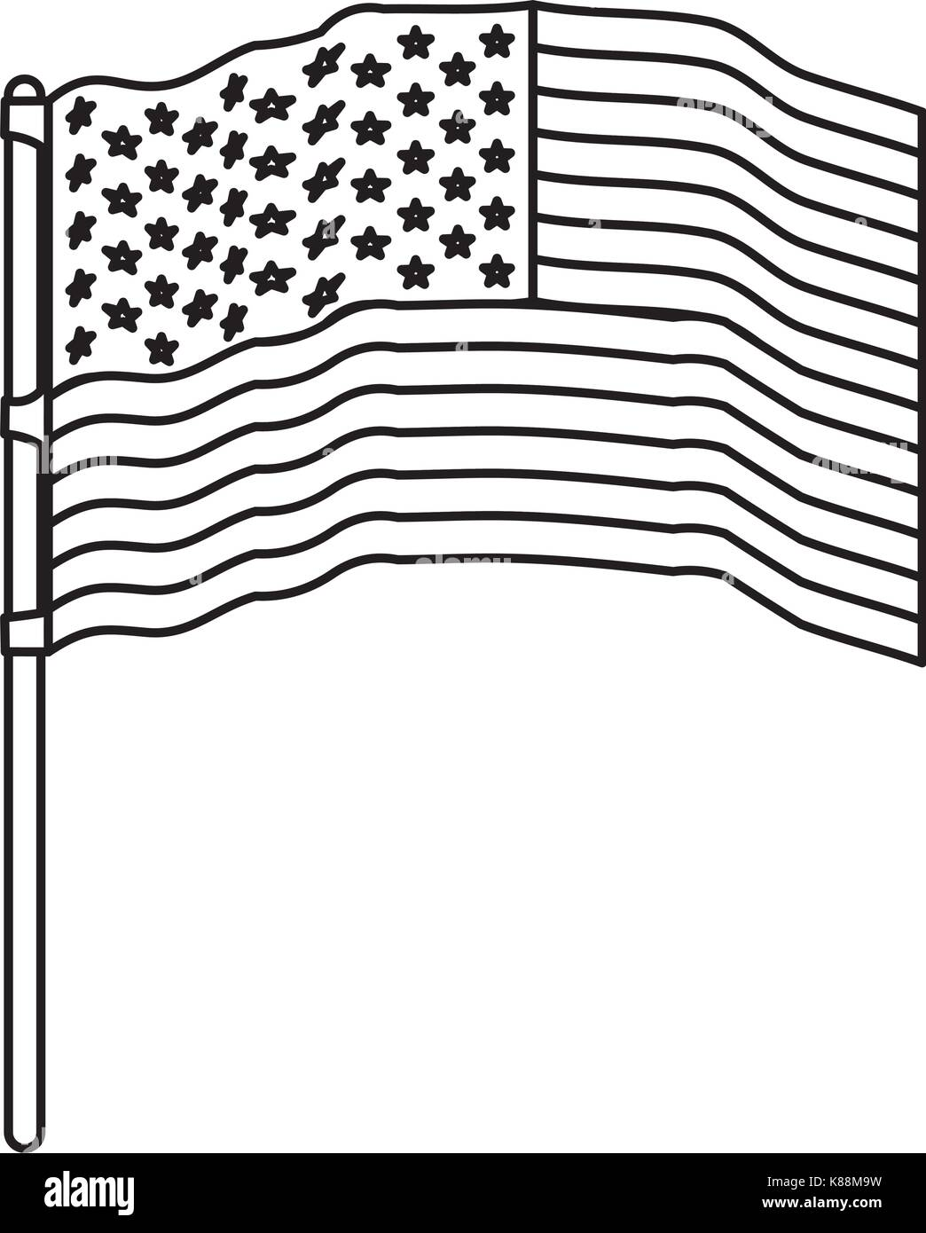 flag united states of america waving in flagpole and monochrome silhouette - Stock Vector