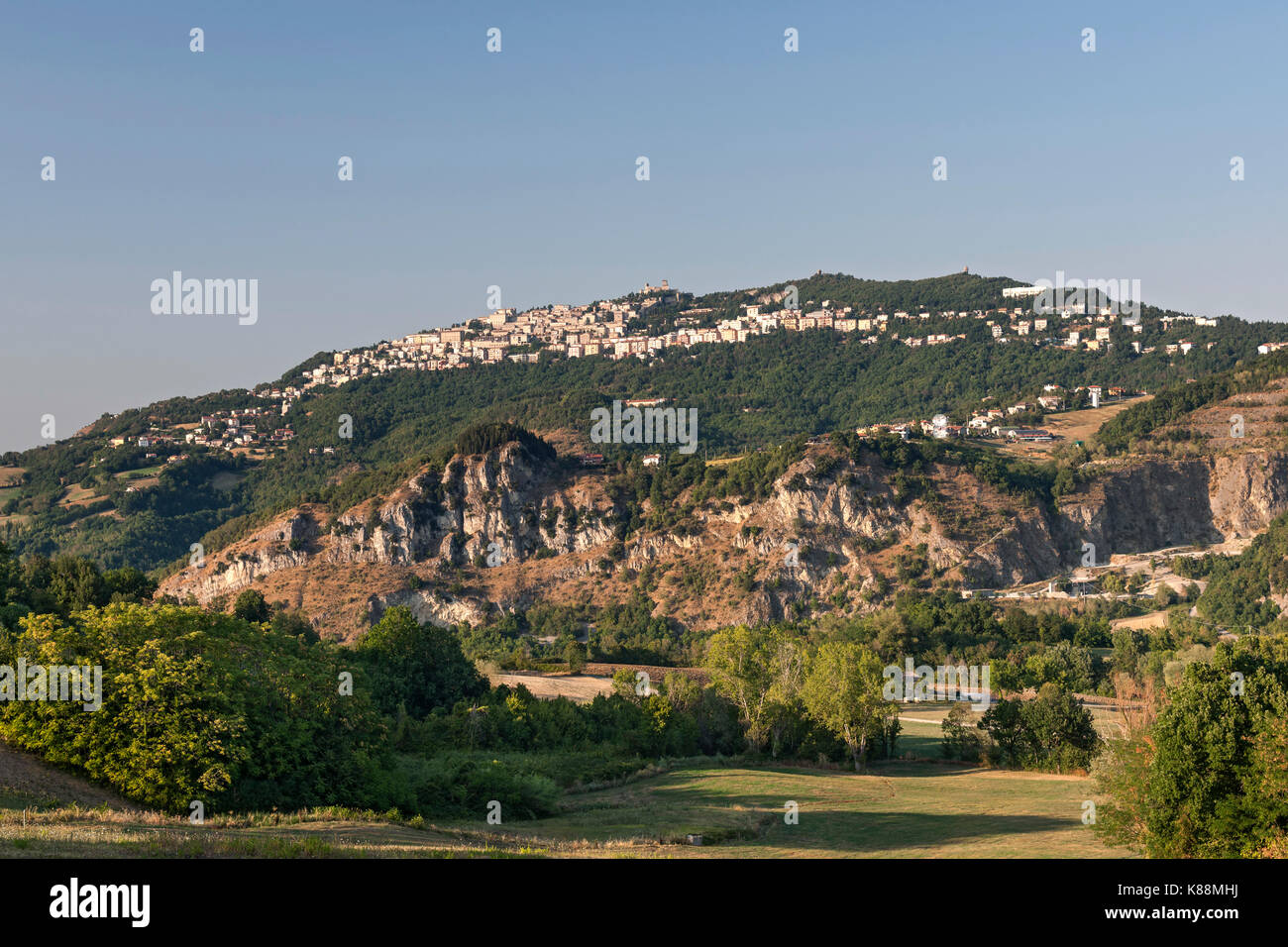 View of Mount Titan (Monte Titano) and the 'city' of Città, the capital of the republic of San Marino. - Stock Image