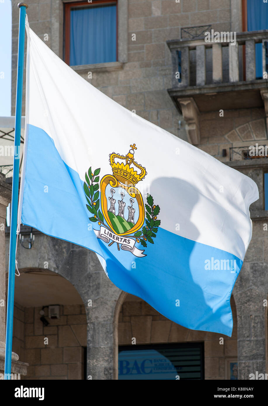 Flag of the republic of San Marino. - Stock Image