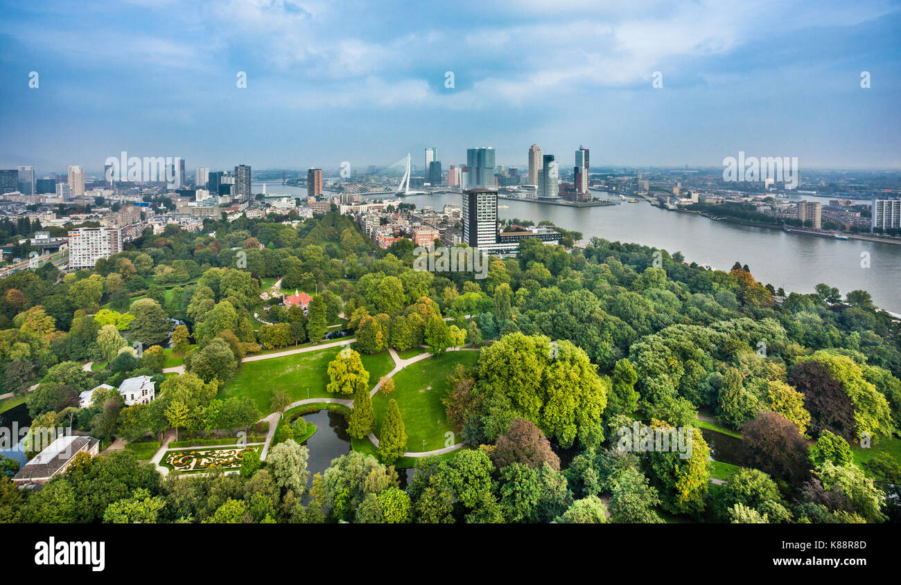 Netherlands, South Holland, Rotterdam, aerial view of Het Park, a parkland that was home to the Floriade of 1960 - Stock Image