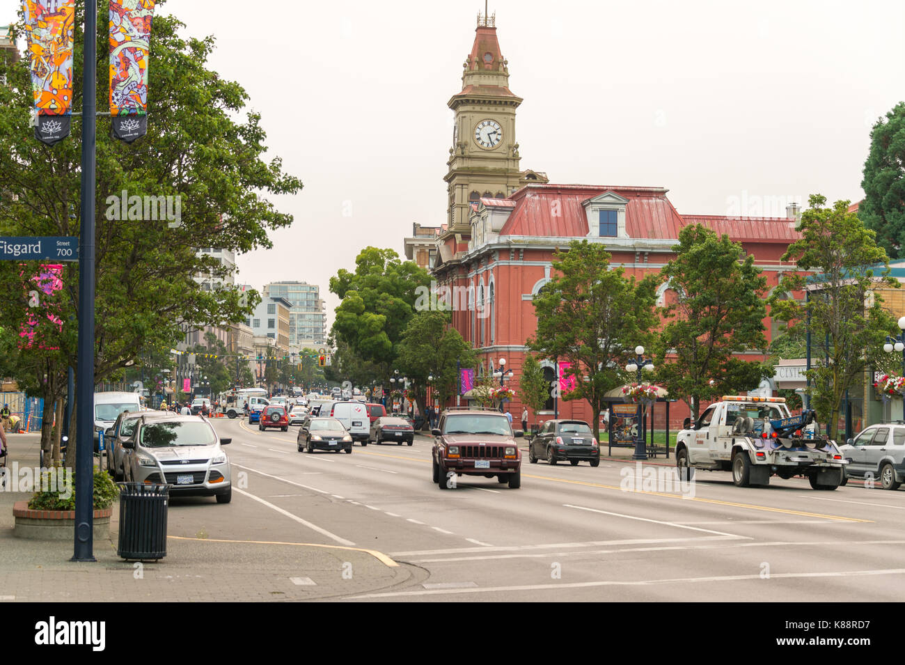 Victoria, British Columbia, Canada - 6 September 2017: Victoria city hall from Douglas Street. - Stock Image