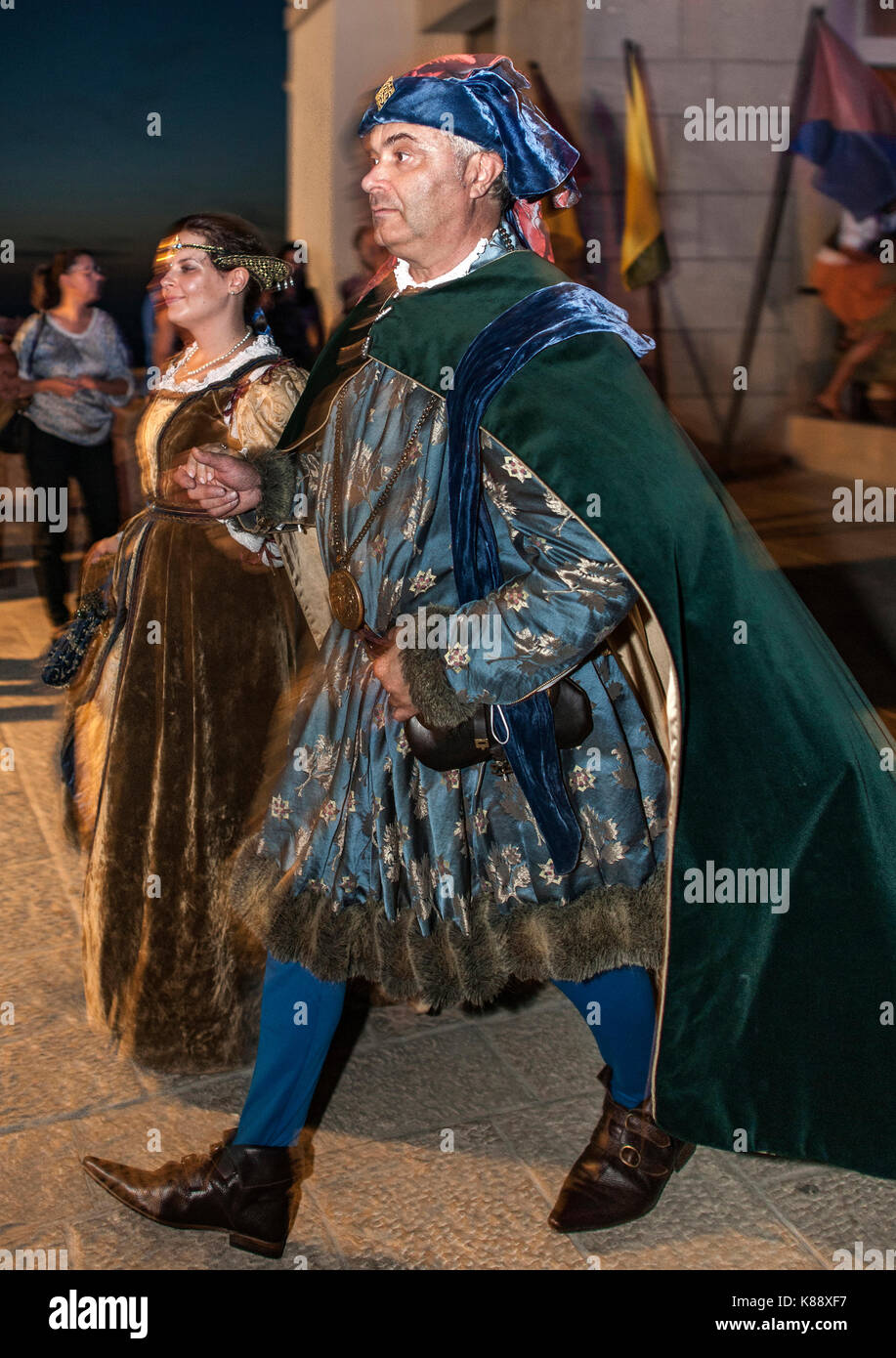 San Marinis dressed and performing in period outfits during the annual Medieval Days Festival held in San Marino. - Stock Image