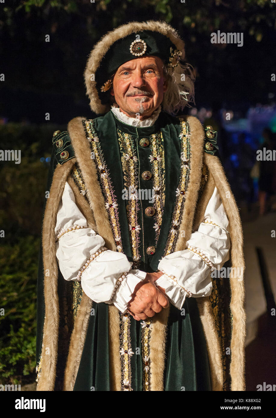 San Marini man dressed in period outfit during the annual Medieval Days Festival held in the old town of San Marino - Stock Image