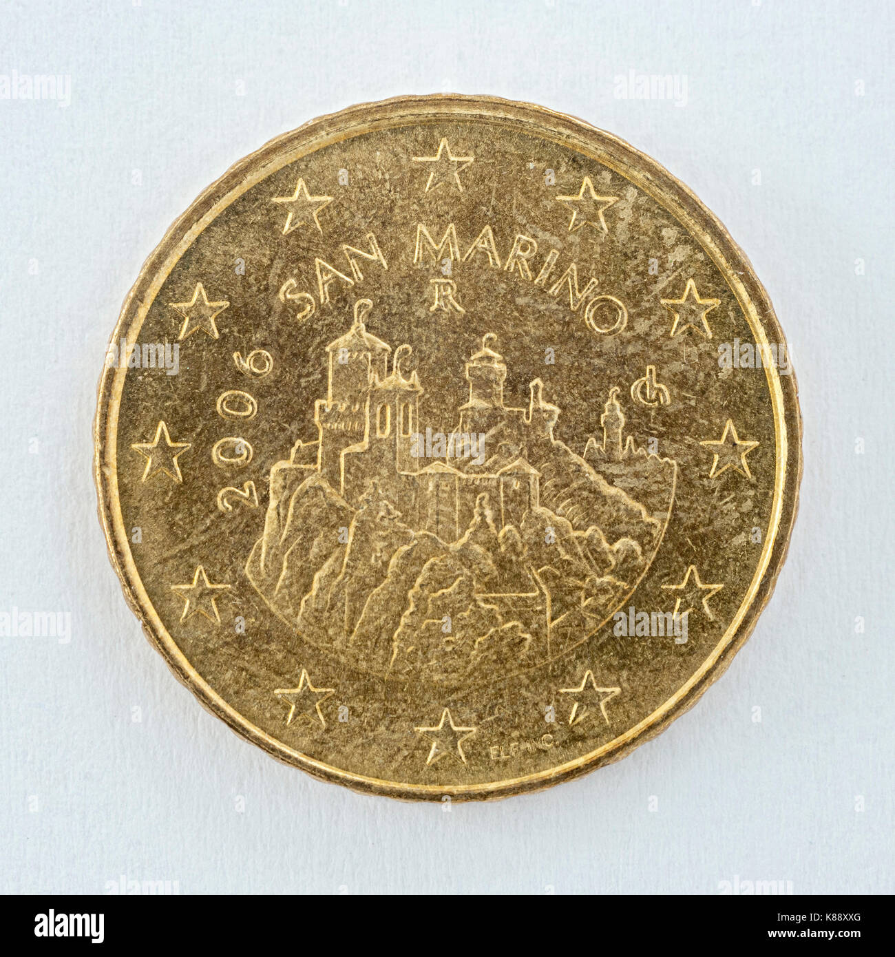 A 50 (Euro) cent coin with the San Marino emblem. - Stock Image