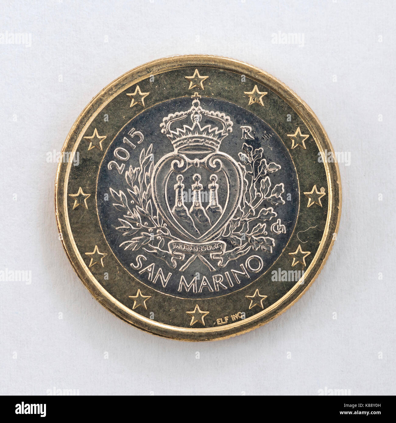 A one euro coin with the San Marino coat of arms. - Stock Image