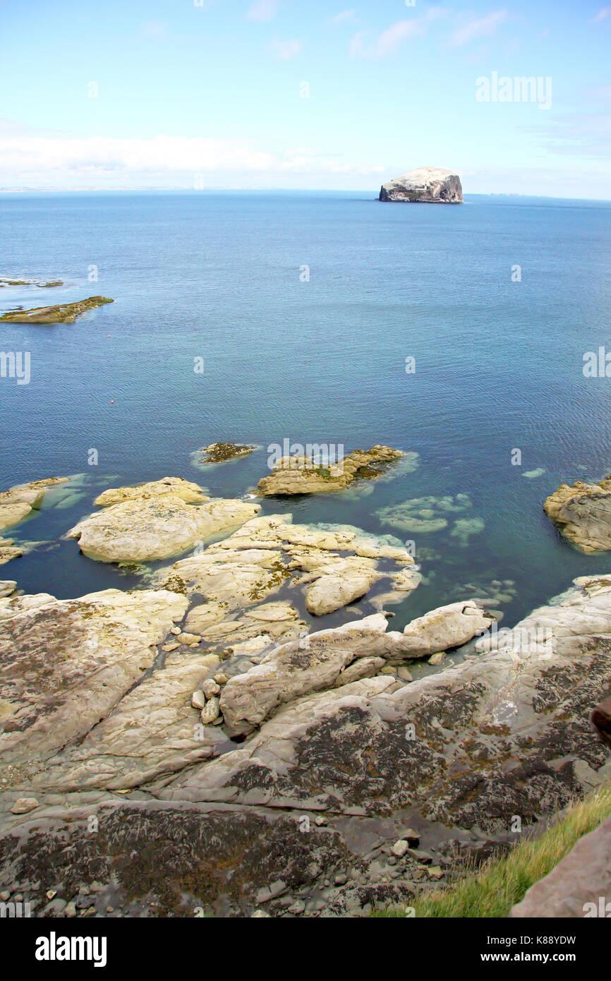 Bass Rock view from the scottish coast, Scotland. UK. Stock Photo