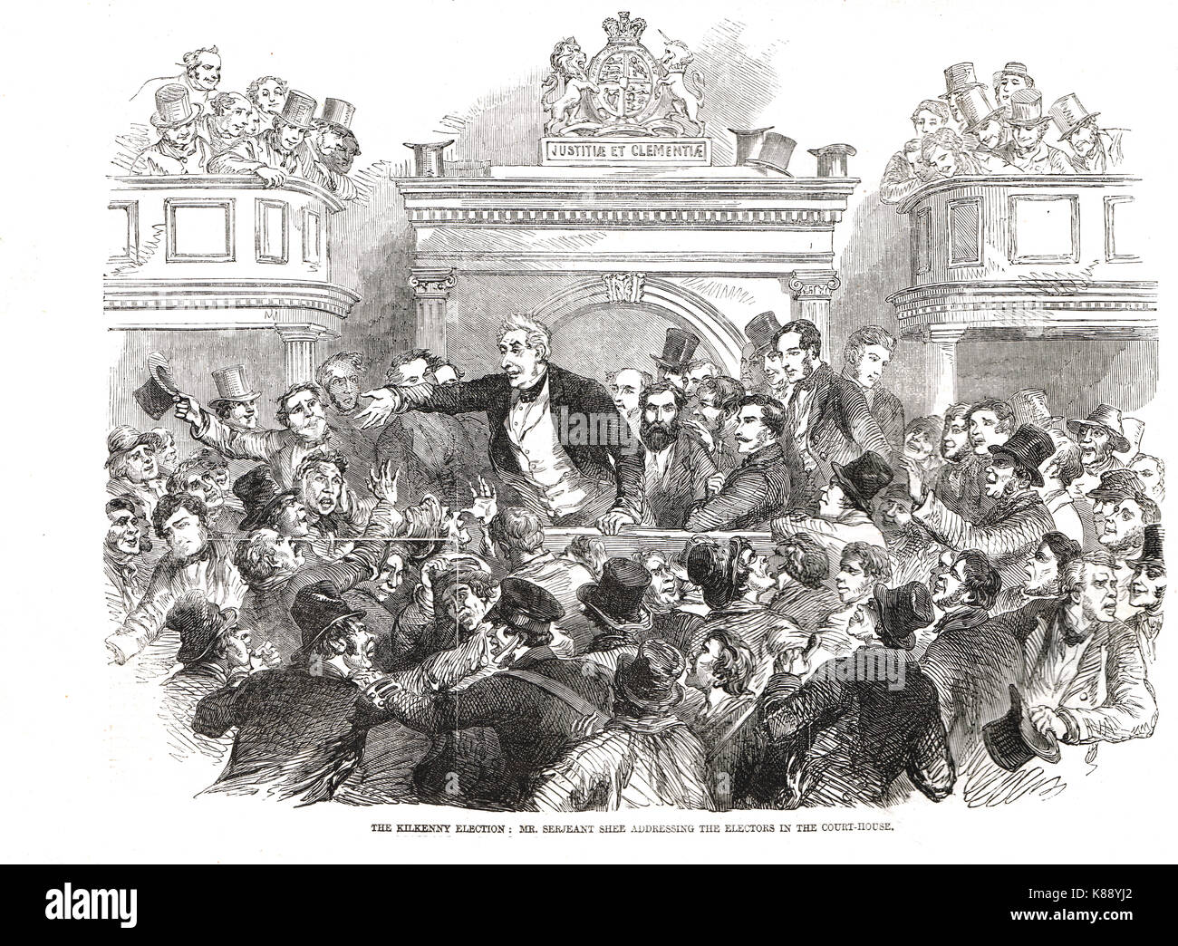 Sir William Shee, champion of Catholic Emancipation addressing the electors in the court-house, Kilkenny, Election, - Stock Image