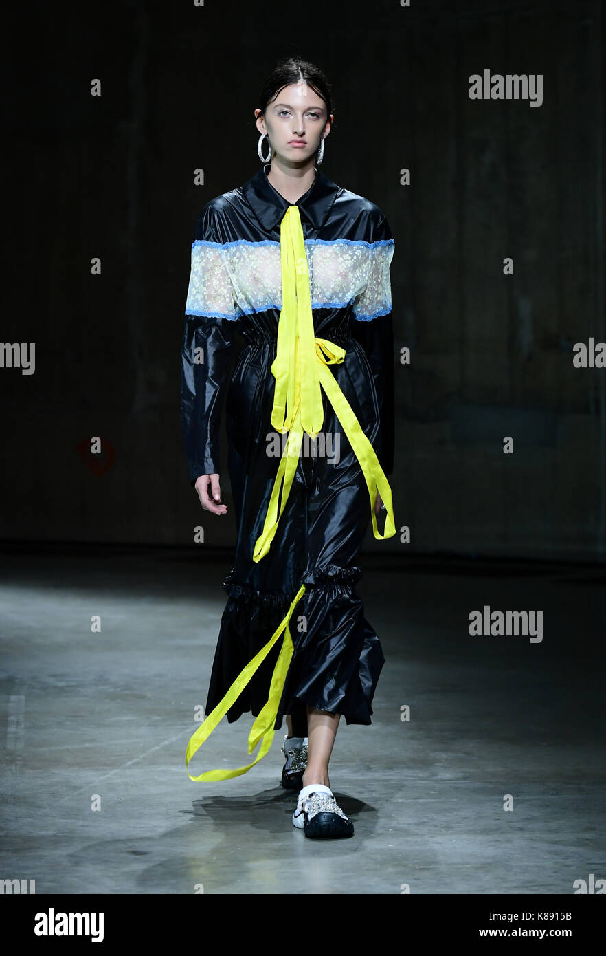 A model on the catwalk during the Christopher Kane Show as
