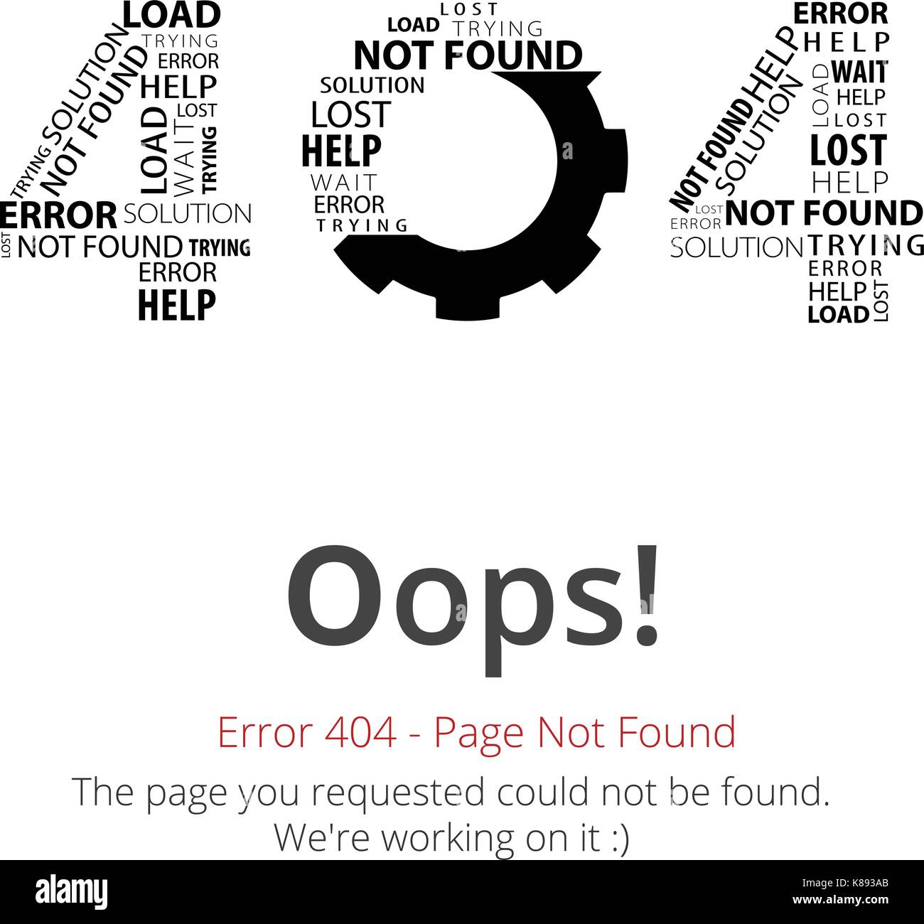 Error 404 page layout vector design. Website 404 page creative concept. The  page you