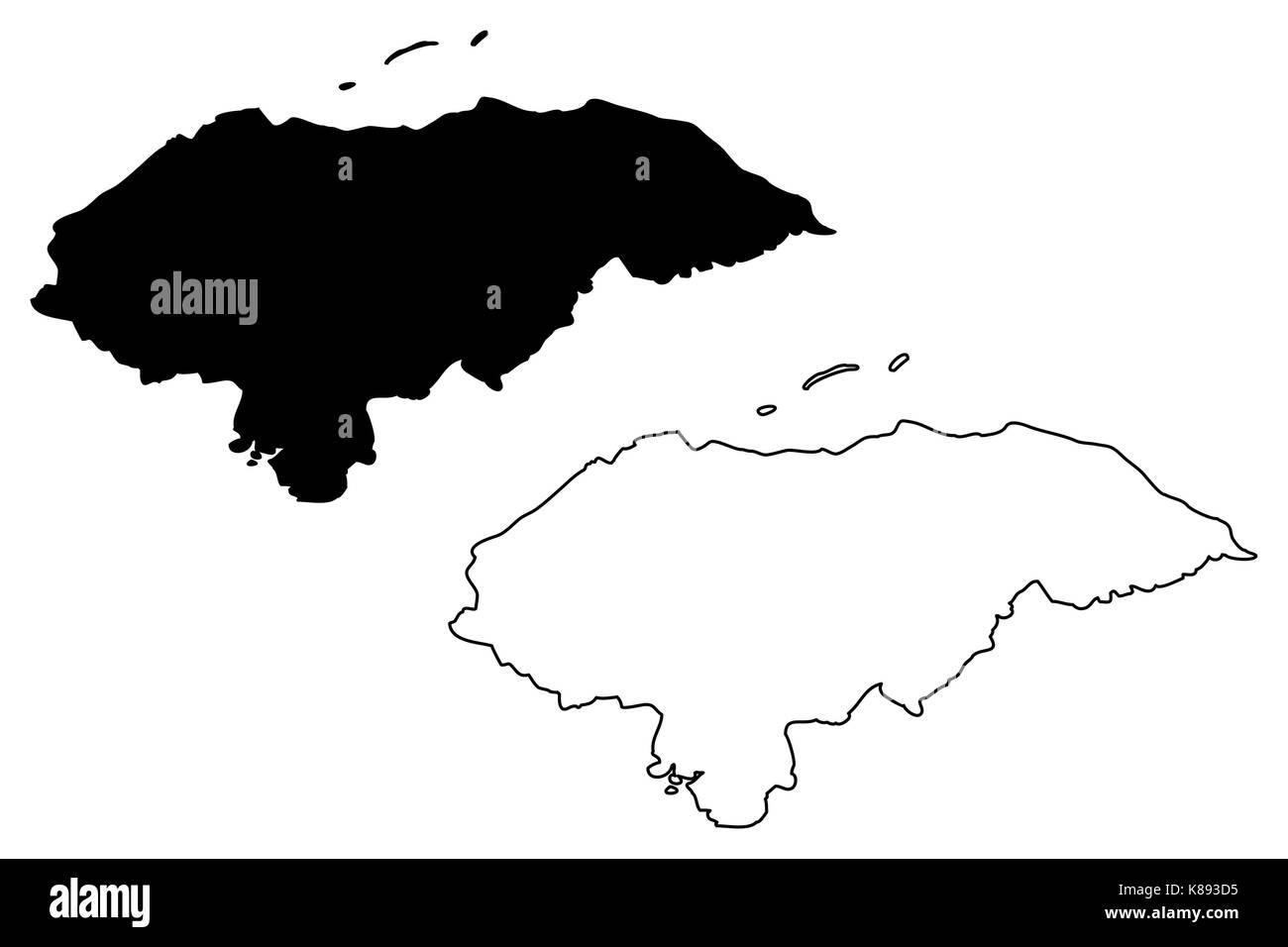 Honduras map vector illustration, scribble sketch Honduras Stock Vector