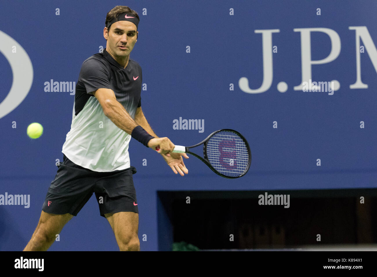 Roger Federer (SWI) competing at the 2017 US Open Tennis Championships Stock Photo
