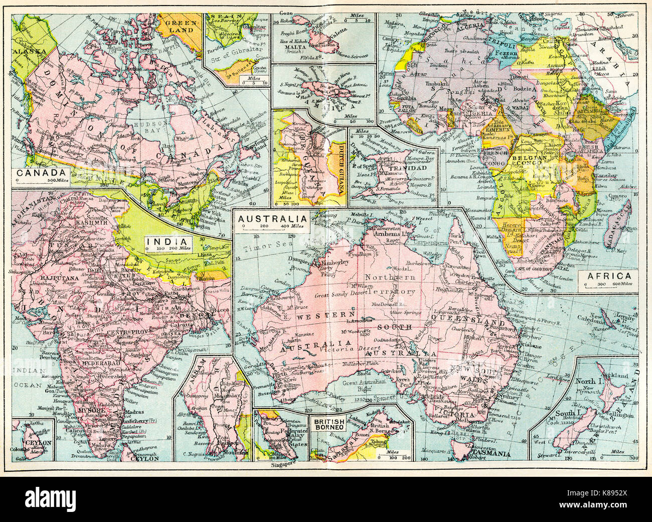 Map of British possessions in 1914 at the outbreak of WWI.  From The British Empire Universities Modern English Stock Photo