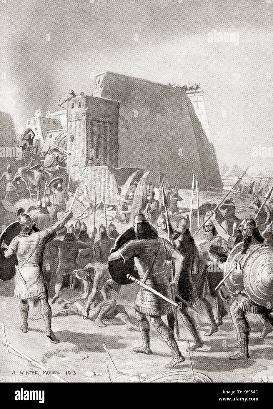 The capture of Memphis, Egypt by the Assyrian king Esarhaddon, 671 BC. Esarhaddon, king of the Neo-Assyrian Empire - Stock Image