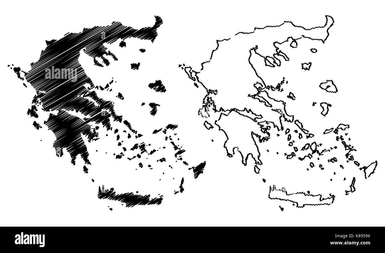 Greece map vector illustration, scribble sketch Greece map Stock ...