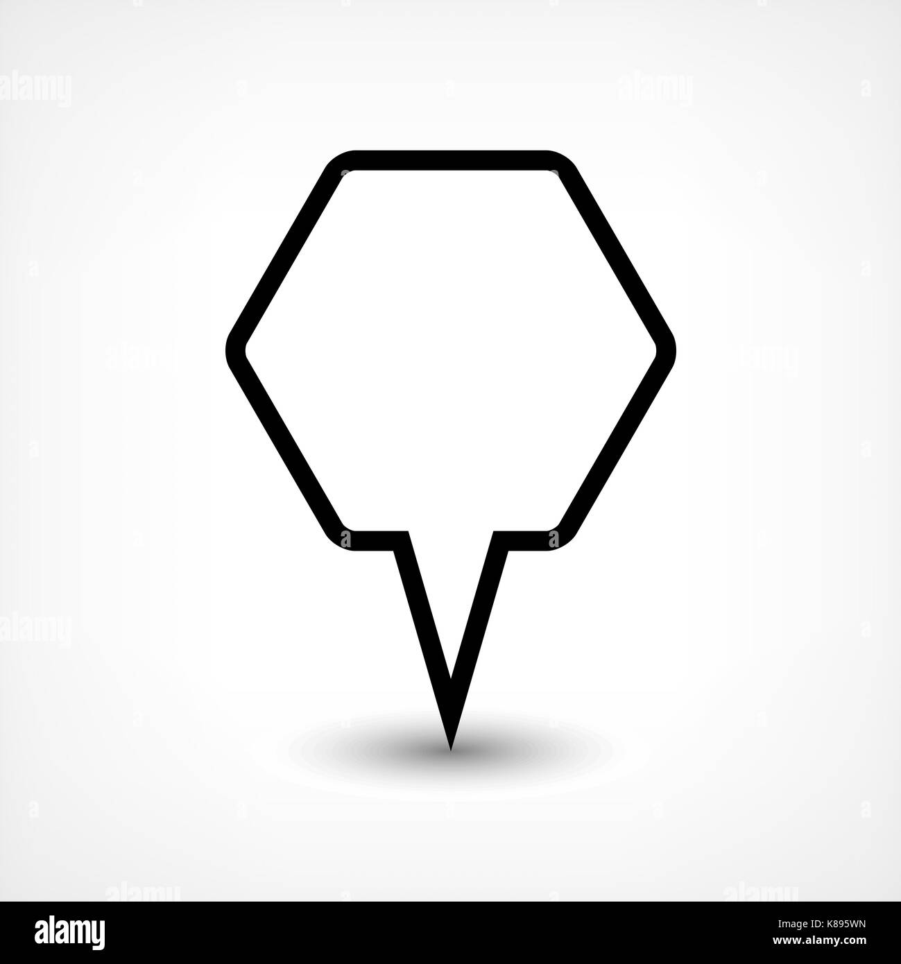 Map pin location sign rounded hexagon icon in flat style. Simple black shapes with gray gradient oval shadow on Stock Vector