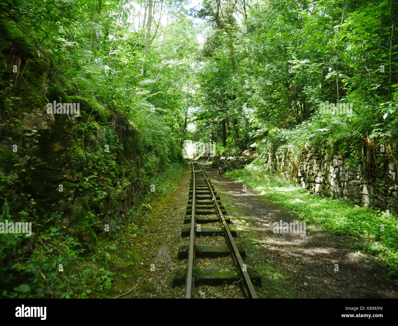 The view from a locomotive at Steeple Grange Light Railway, Wirksworth, Derbyshire - Stock Image
