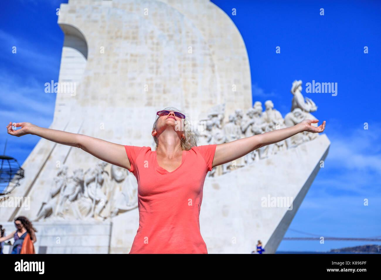 Discoveries Monument enjoying - Stock Image