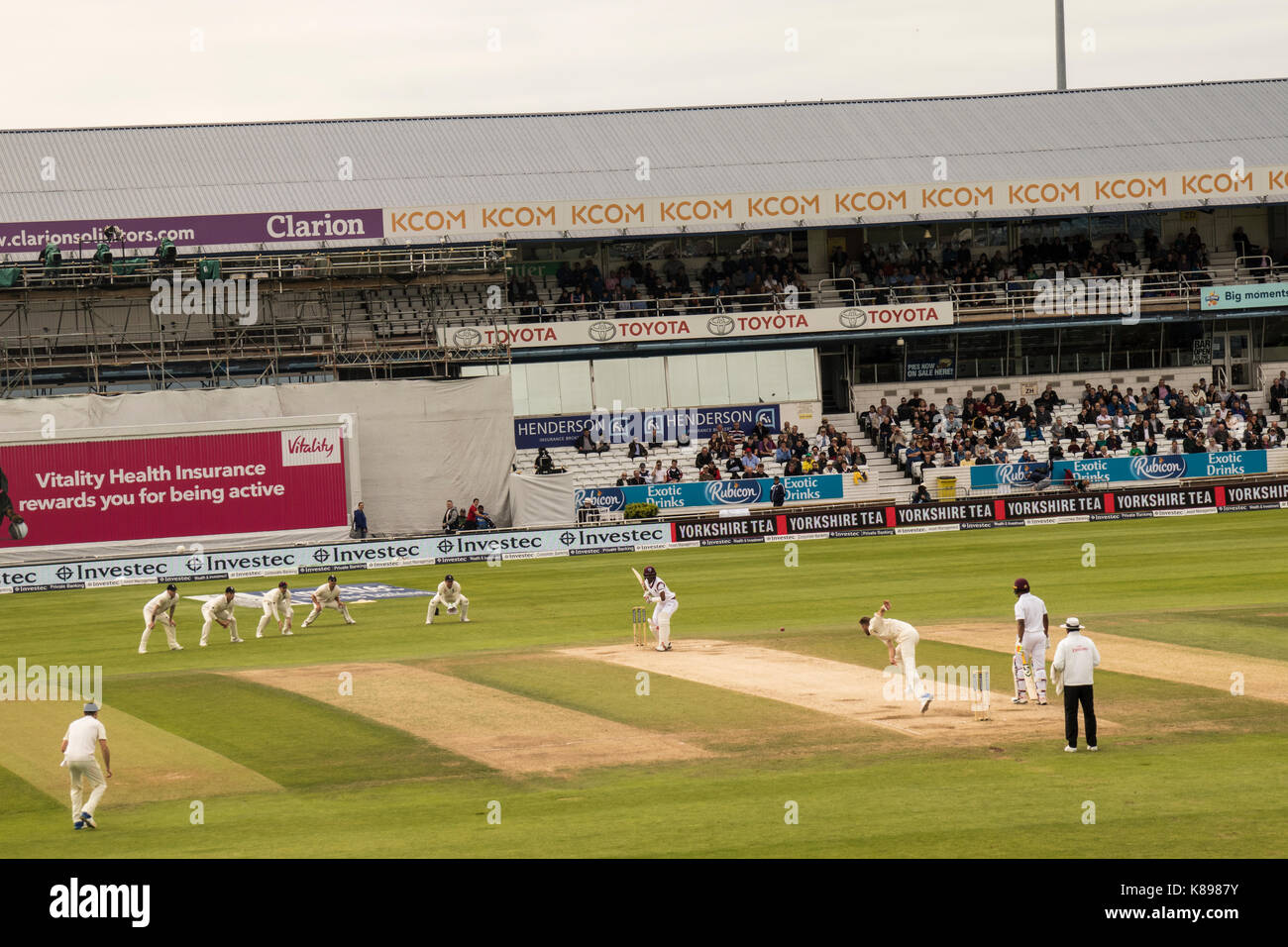 Headingley Cricket Ground. Taken from the North East Stand at the England v Windies Test Match in August 2017. - Stock Image