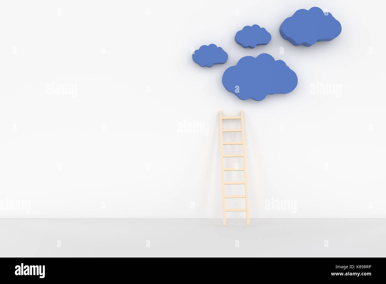 3d rendering of clound and ladder concept - Stock Image
