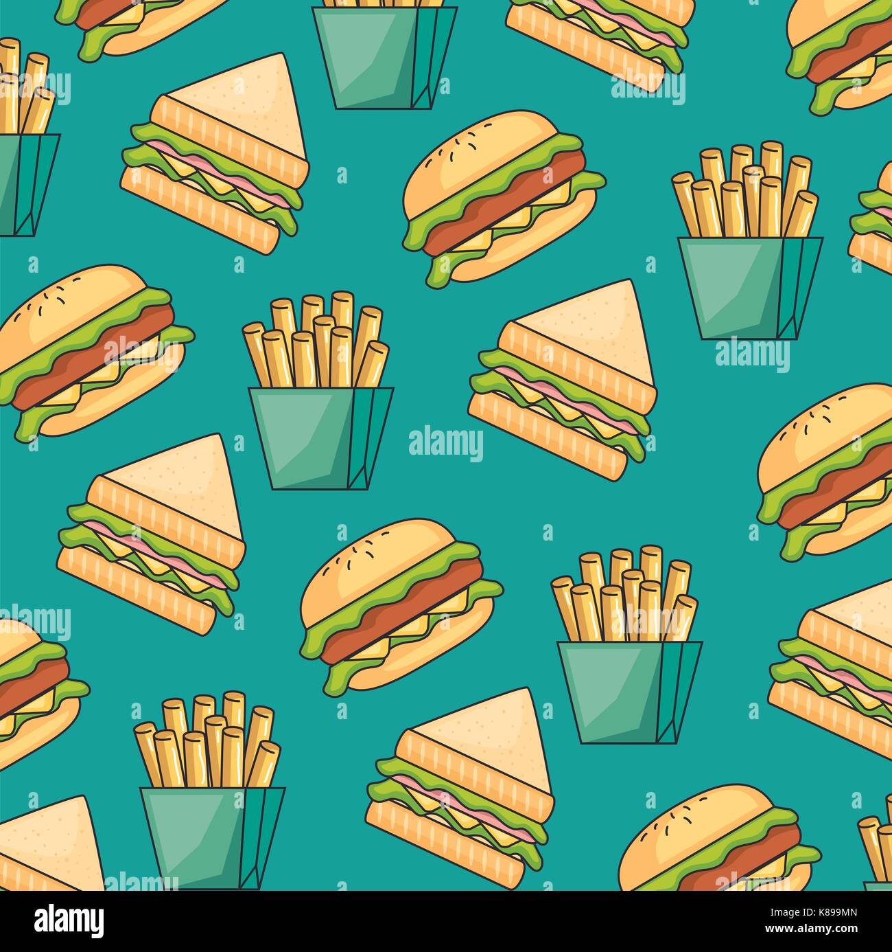 fast food seamless pattern vector illustration graphic design - Stock Vector