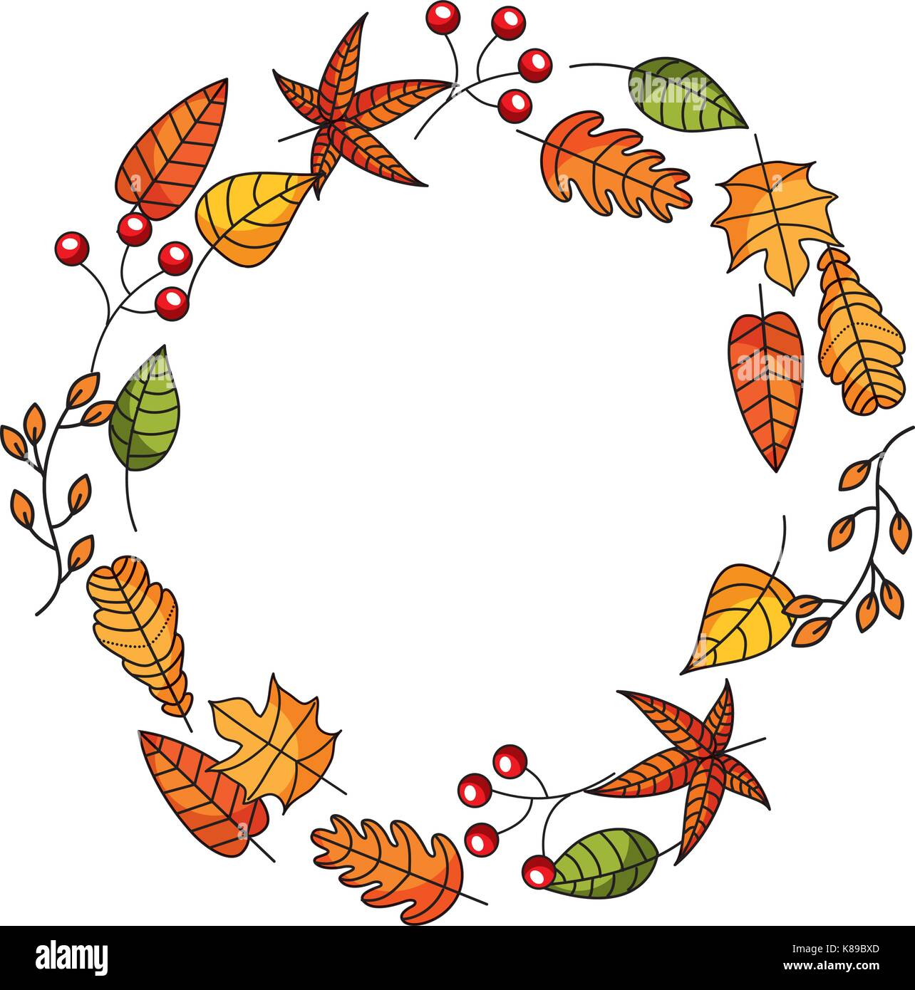 wreath of autumn leaves and fruit beautiful round - Stock Vector