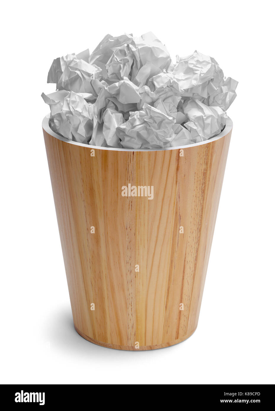Full Office Trash Can Isolated on White Background. - Stock Image