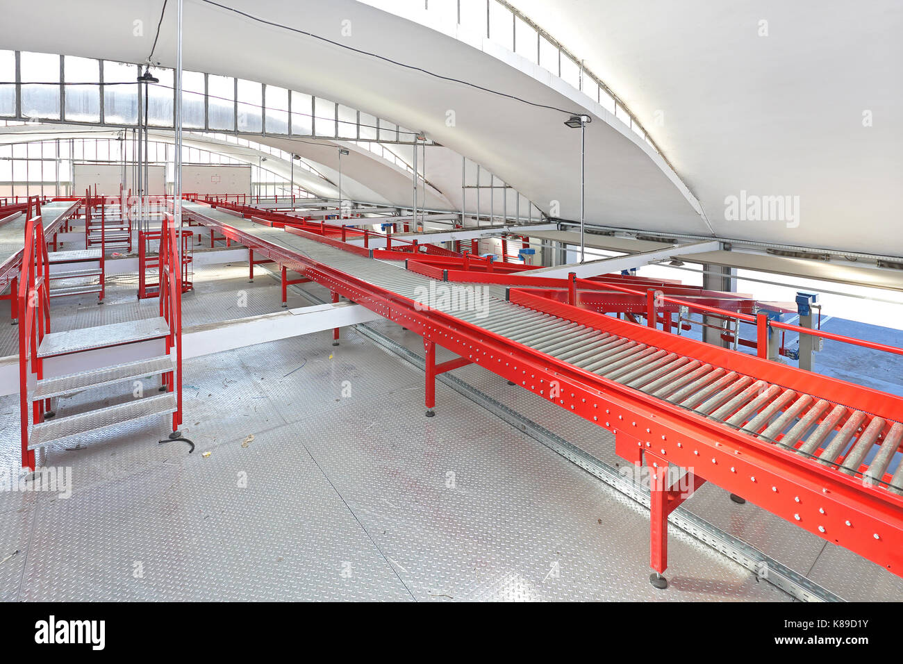 Conveyor Belt Distribution and Delivery Warehouse - Stock Image