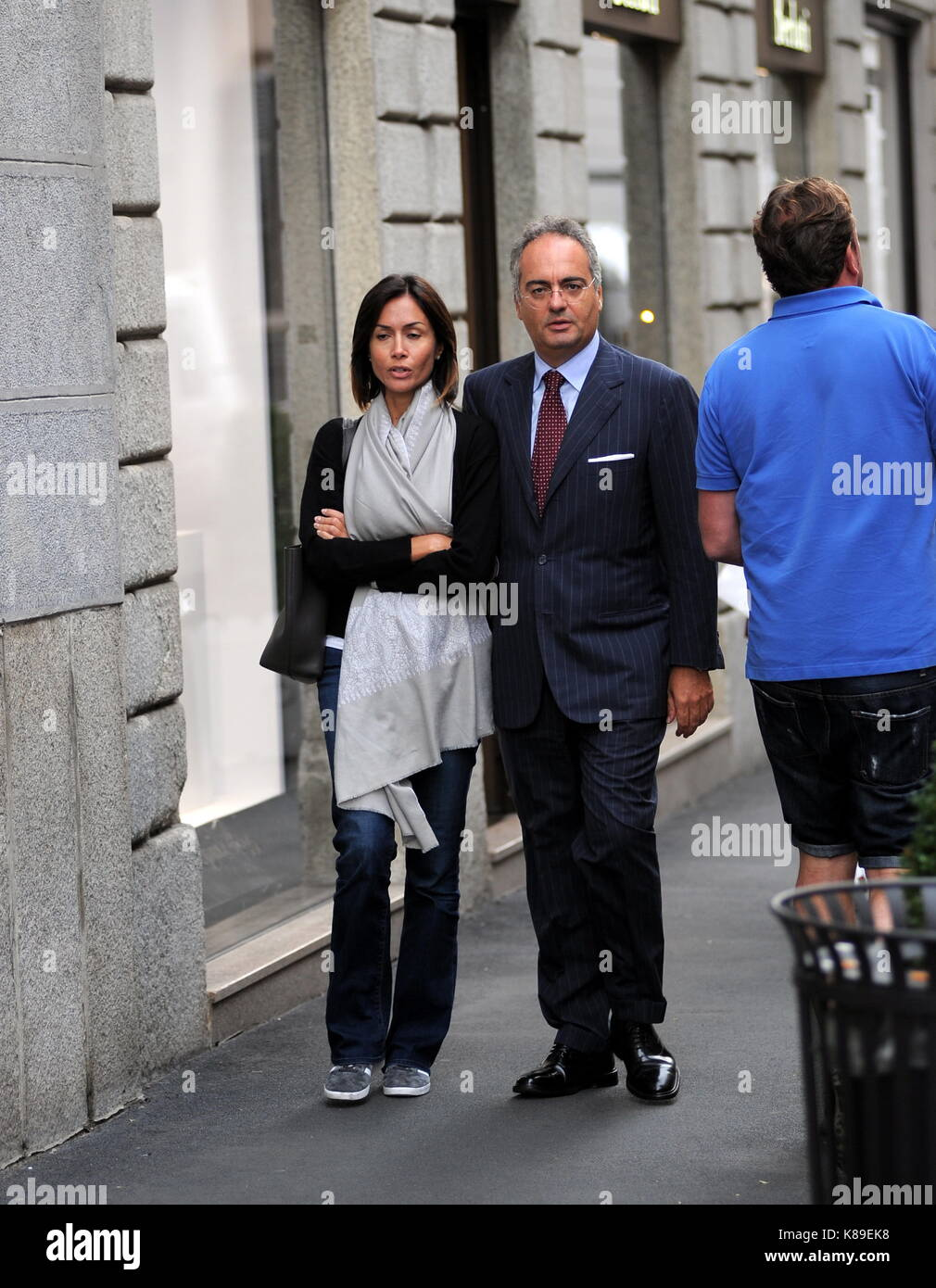 Milan, Mara Carfagna and boyfriend Alessandro Ruben romantic walk Former Minister MARA CARFAGNA surprised walking - Stock Image