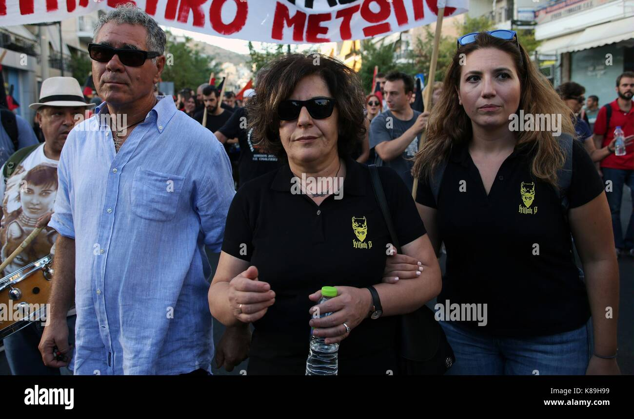 Athens, Piraeus near the capital Athens. 18th Sep, 2017. Magda Fyssa (C), mother of murdered anti-fascist activist Stock Photo