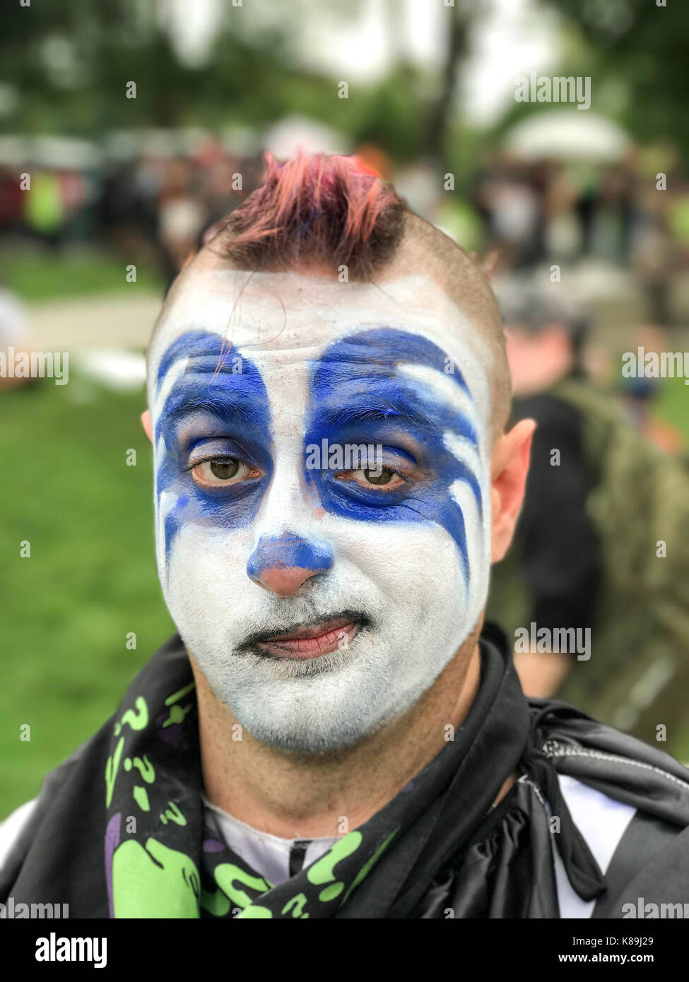 Washington, D.C, USA. 16th Sep, 2017. Lunchbox poses for a photo as he attends Juggalo march and rally at the Lincoln Stock Photo