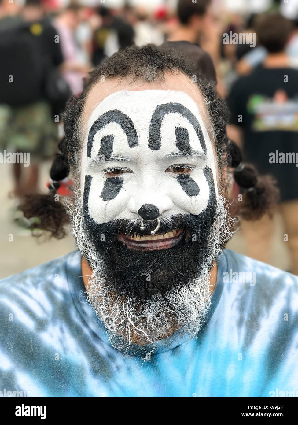 Washington, D.C, USA. 16th Sep, 2017. Poncho poses for a photo as he attends Juggalo march and rally at the Lincoln Stock Photo
