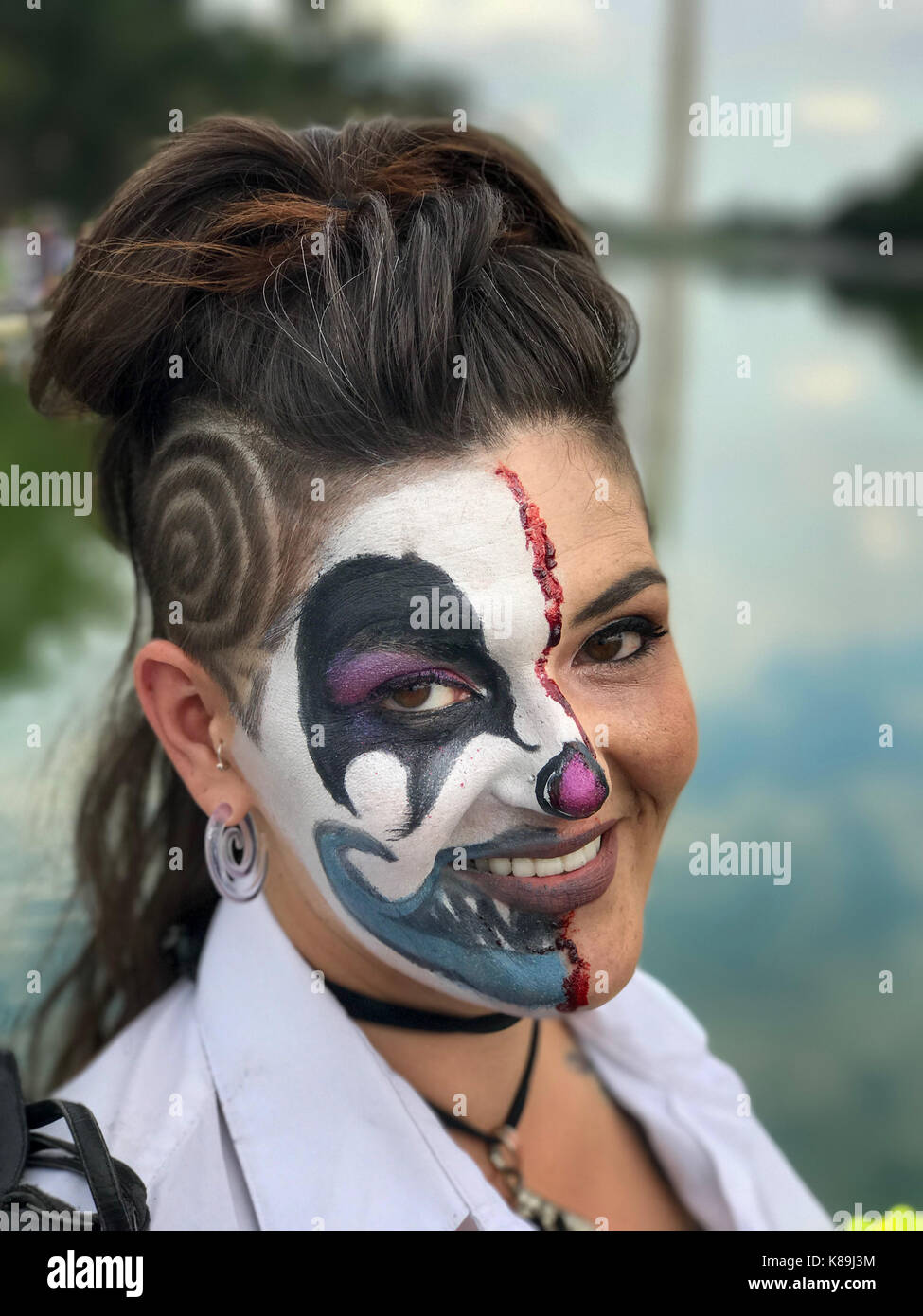 Washington, D.C, USA. 16th Sep, 2017. Jackie poses for a photo as she attends Juggalo march and rally at the Lincoln Stock Photo