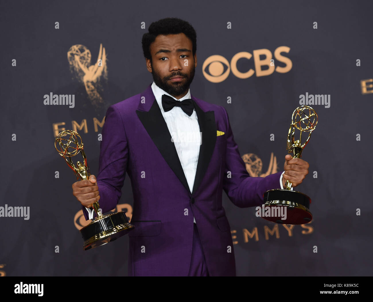 Los Angeles, USA. 17th Sep, 2017. Donald Glover 290 at the 69th annual Emmy awards press room at the Microsoft theatre. - Stock Image