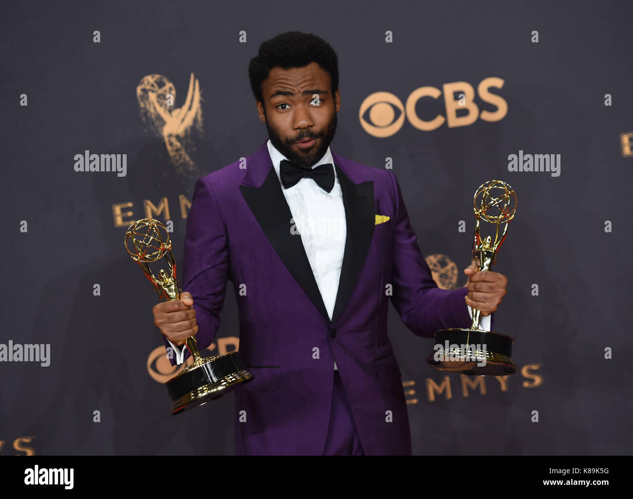 Los Angeles, USA. 17th Sep, 2017. Donald Glover 291 at the 69th annual Emmy awards press room at the Microsoft theatre. - Stock Image
