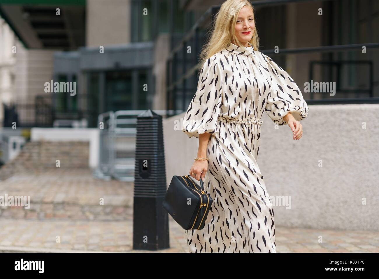 Stylist Kate Foley arriving at the Preen By Thornton Bregazzi runway show during London Fashion Week - Sept 17, - Stock Image