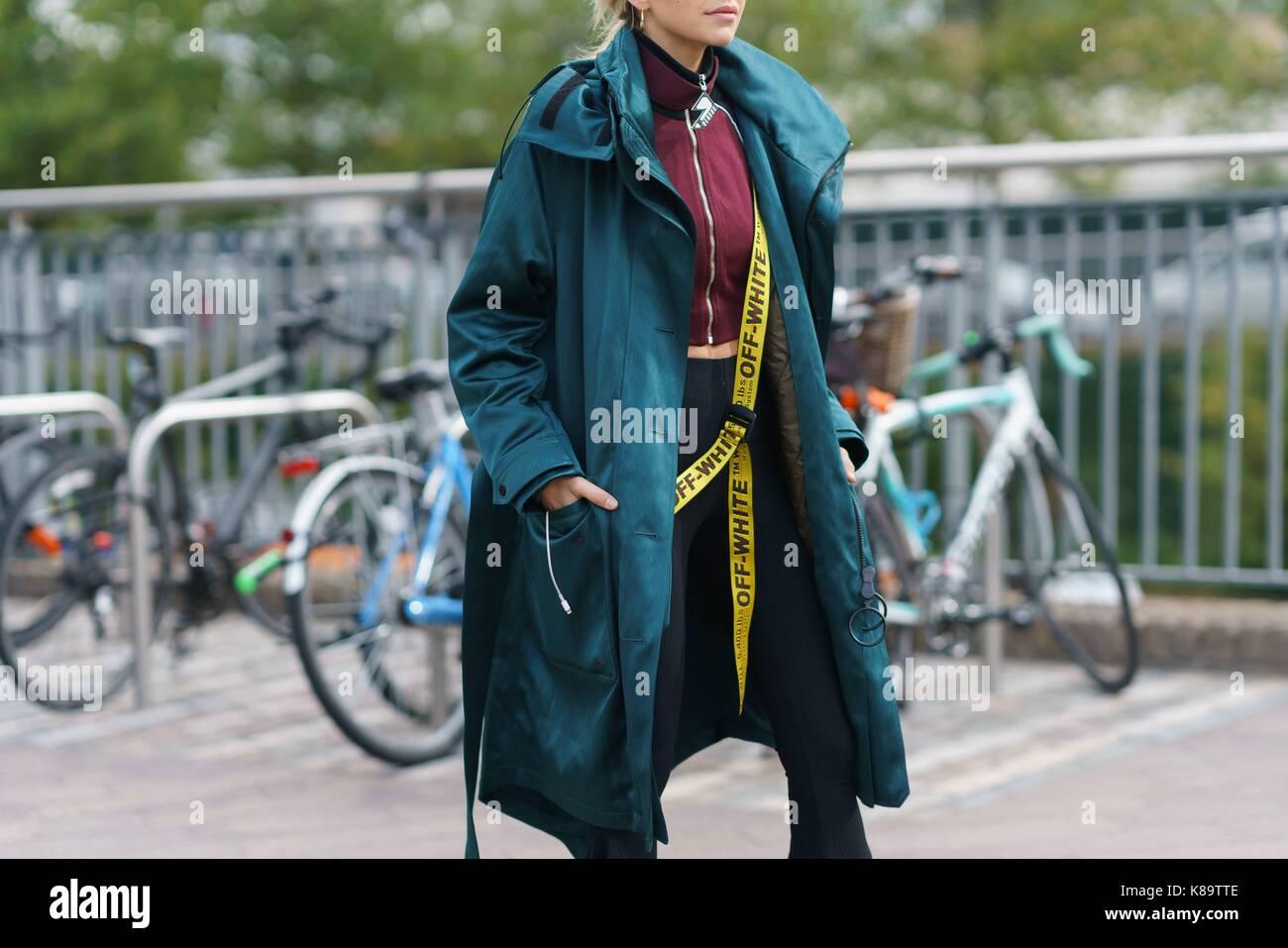 35de44eafb Blogger Caroline Daur posing outside the Versus Versace runway show during  London Fashion Week - Sept