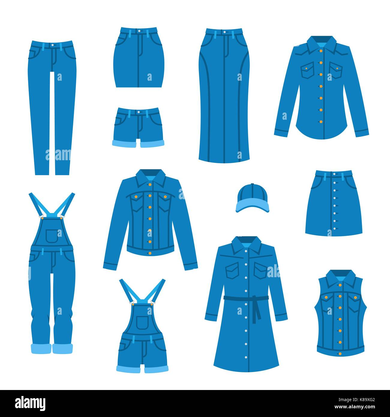 Denim Clothes Flat Icons Fashion Style Vector Casual Outfit For Stock Vector Image Art Alamy