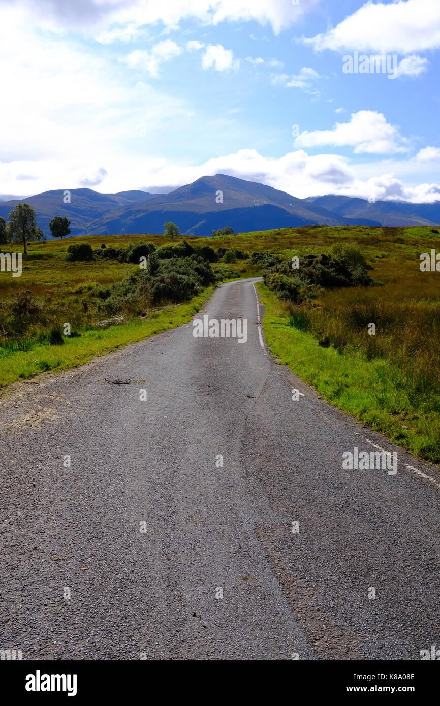 Kilmonivag/Brackletter un named road - Scotland near Spean Bridge Stock Photo