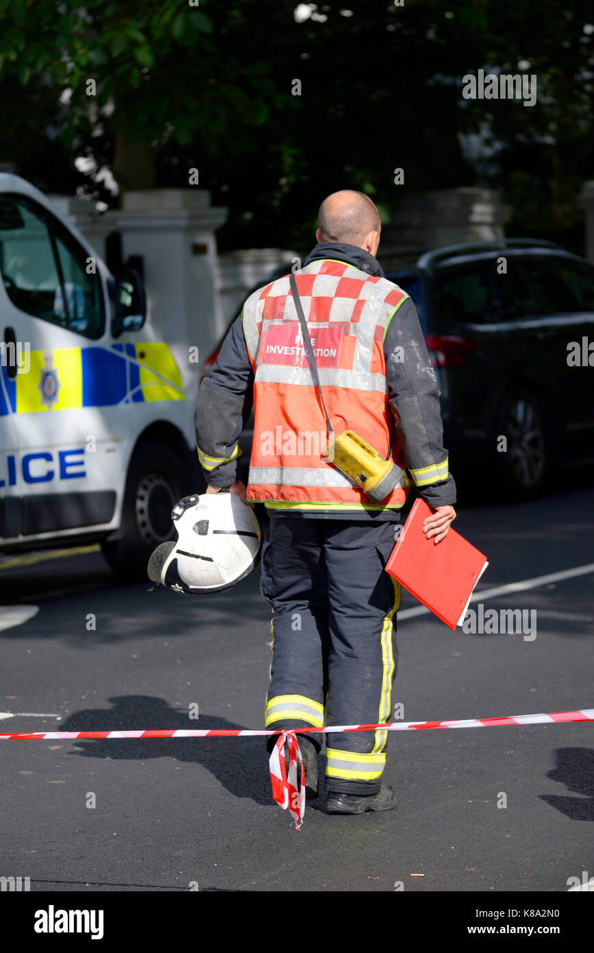 Parsons Green terrorist bomb, London. Fire Investigation officer entering the cordon. Space for copy - Stock Image