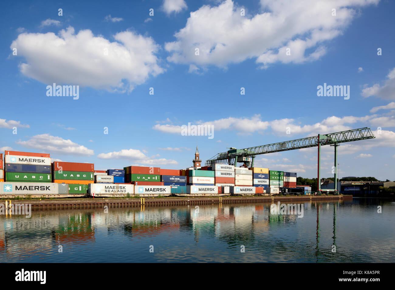 Containerterminal und Altes Hafenamt im Hafen von Dortmund, Ruhrgebiet, Nordrhein-Westfalen Stock Photo