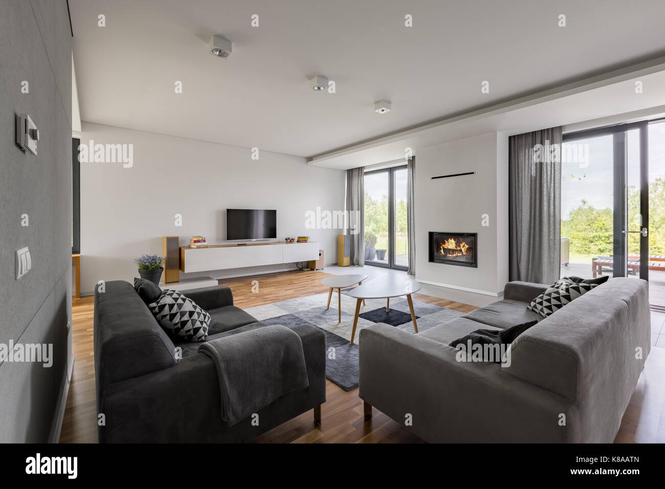 Luxurious living room with fireplace, tv, balcony and two couches - Stock Image