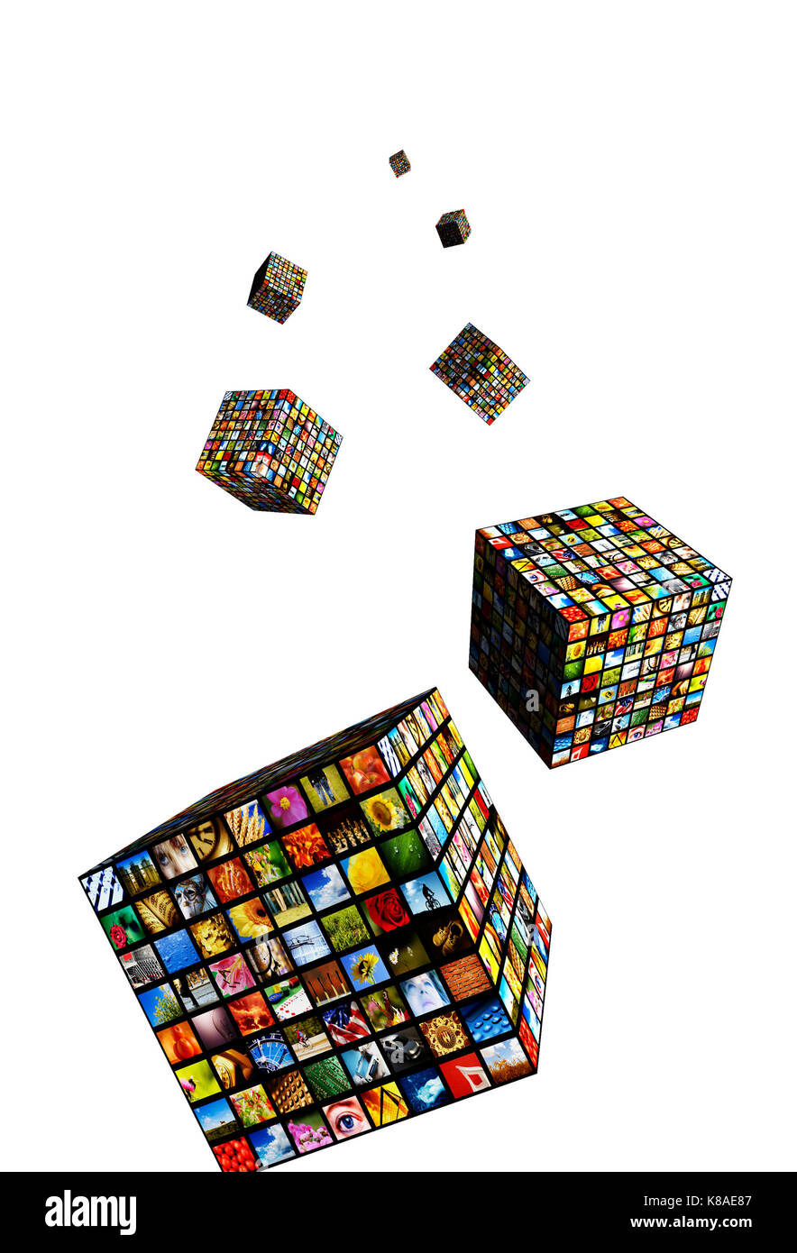 cubes with many screens, internet broadcast and IPTV - Stock Image