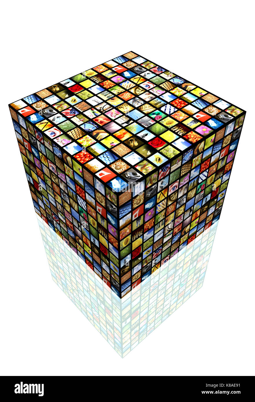 cube with many screens, internet broadcast and IPTV - Stock Image