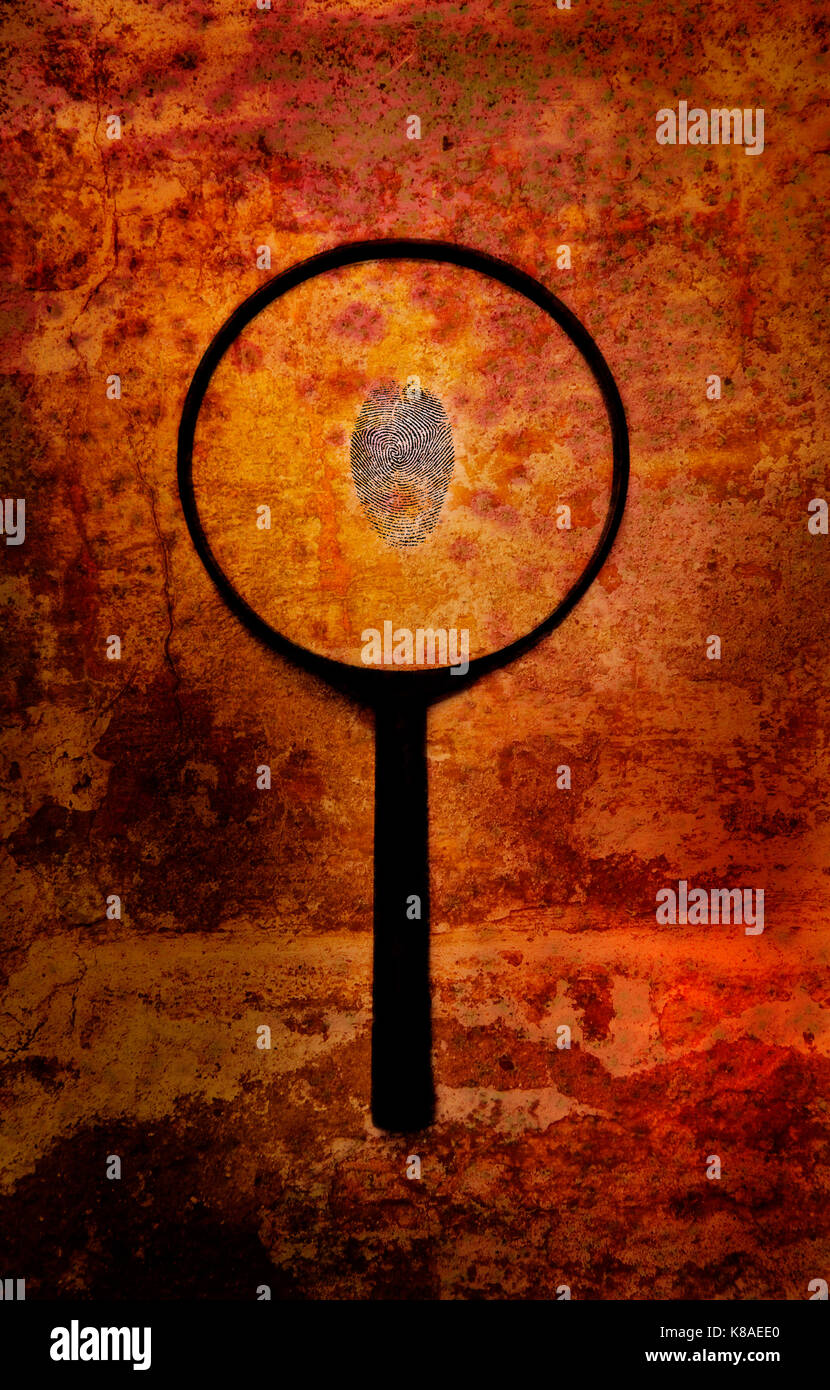 crime investigation concept with fingerprint and magnifier against a grunge background - Stock Image