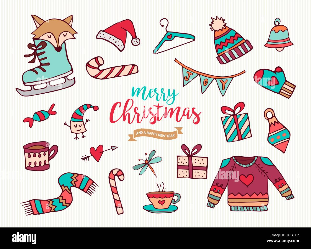 merry christmas happy new year cute festive cartoon element collection set of hand drawn holiday decoration includes funny fox winter clothing and