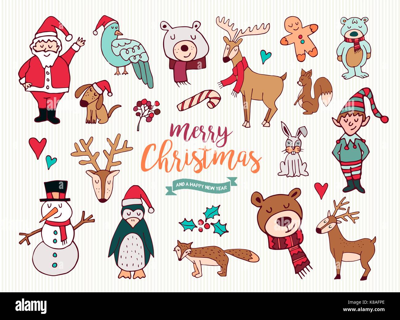 Merry Christmas Happy New Year cute festive cartoon element Stock ...