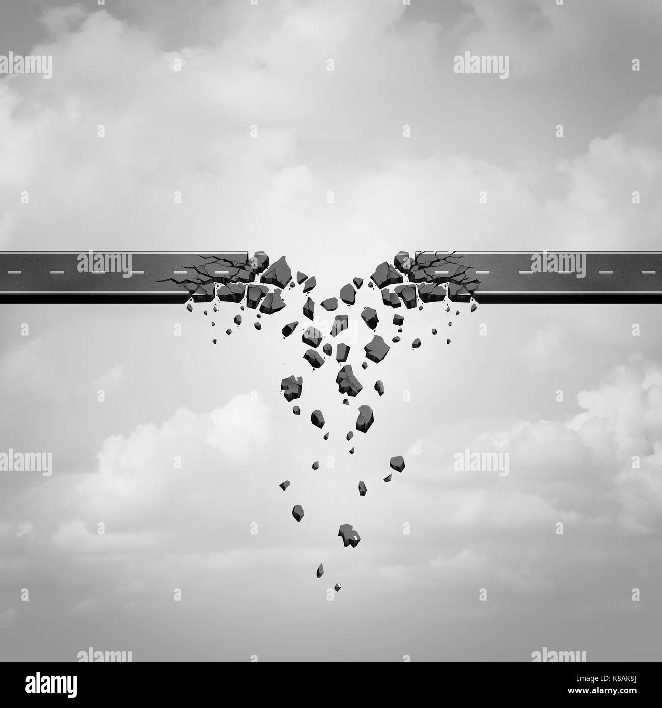 Broken connection and collapse business concept as a road being destroyed and separated as a failure to communicate - Stock Image