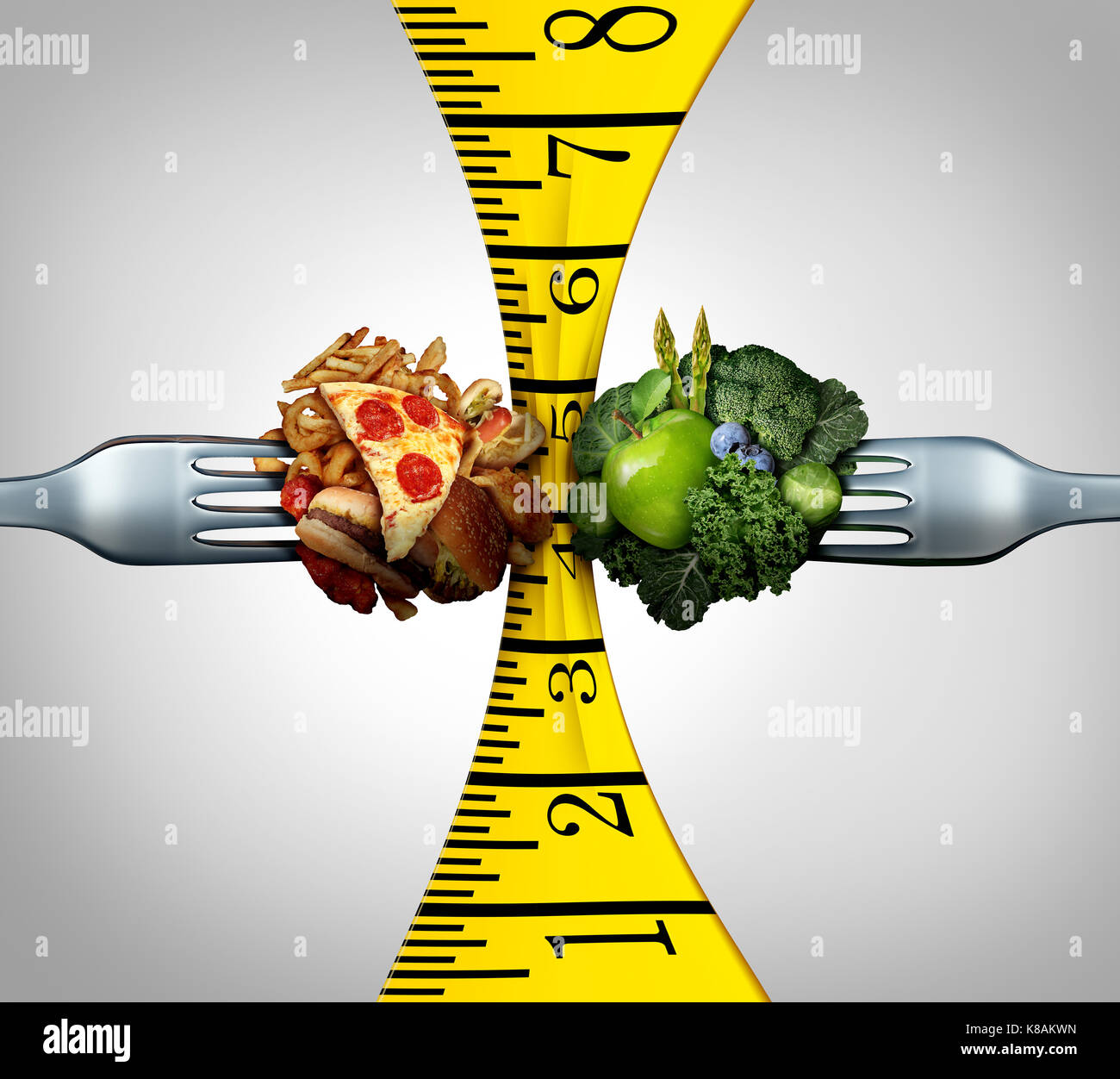 Measuring tape food and weight control squeeze concept as two forks with junk food and healthy fruit and vegetables - Stock Image