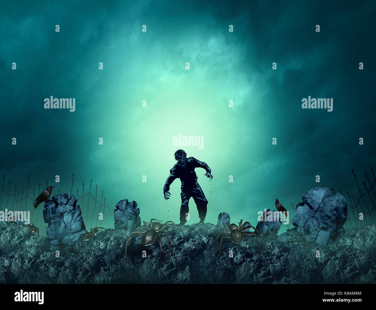 Zombie grave halloween background as a creepy walking monster in a blank area for text as a spooky dead scary ghost - Stock Image