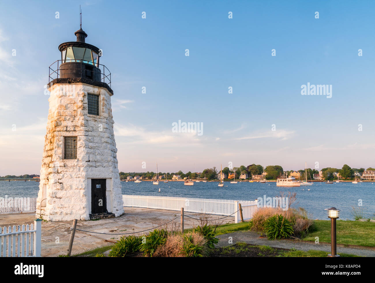 Newport Harbor (Goat Island) Lighthouse, Newport, Rhode Island - Stock Image